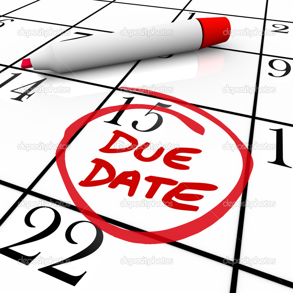 Due Date Calendar Circled for Pregnancy or Project Completion